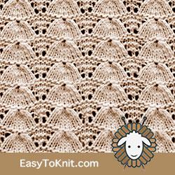 Eyelet Lace 59: Lucina Shell | Easy to knit #knittingetitches #eyeletlace