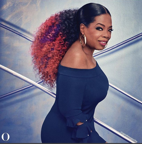 Oprah Winfrey looks gorgeous in multi-coloured hair