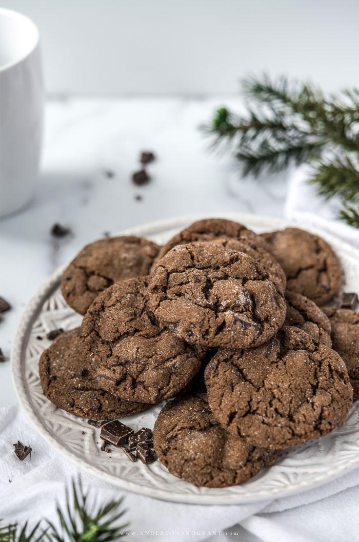 Plate of Christmas Gingerbread Cookies