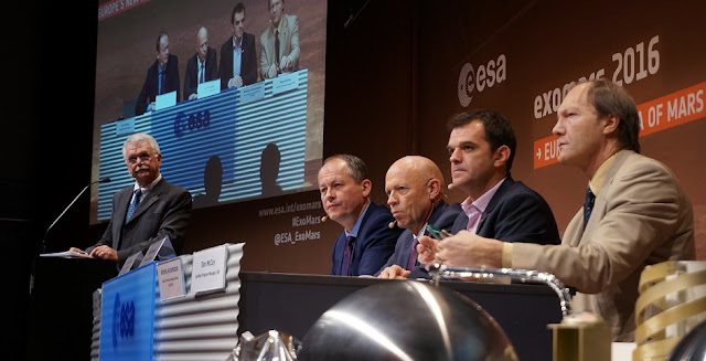 ESA's press conference on the status of the ExoMars mission, Oct. 20. Photo Credit: ESA/P. Shlyaev