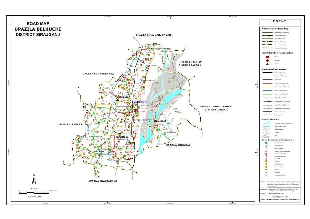 Belkuchi Upazila Road Map Sirajganj District Bangladesh