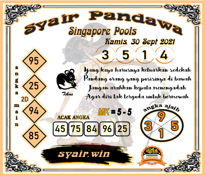 Syair Pandawa Sgp Kamis 30 September 2021