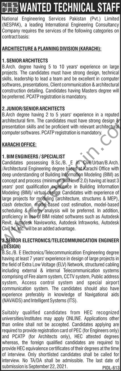 National Engineering Services Pakistan Pvt Ltd NESPAK Jobs September 2021