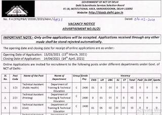 DSSSB Advt 01/21 Recruitment