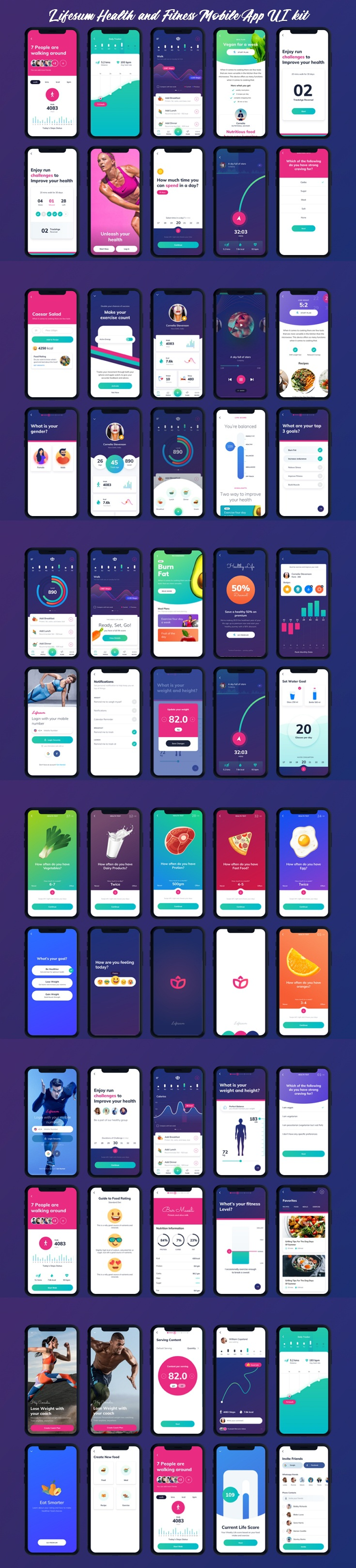 Health and Fitness Mobile App UI kit