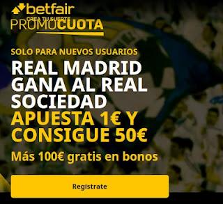 promocuota betfair Real Madrid v Real Sociedad 1-3-2021