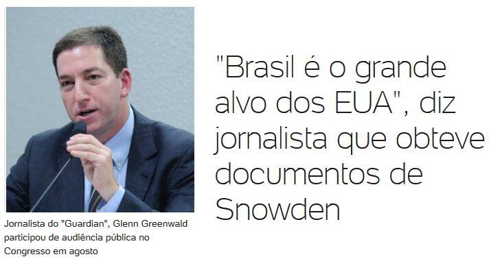 Glenn com a frase de que Brasil é grande alvo dos EUA