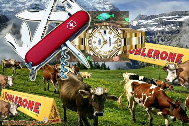 Esteriótipos de paisagem Suíça e também produtos do país