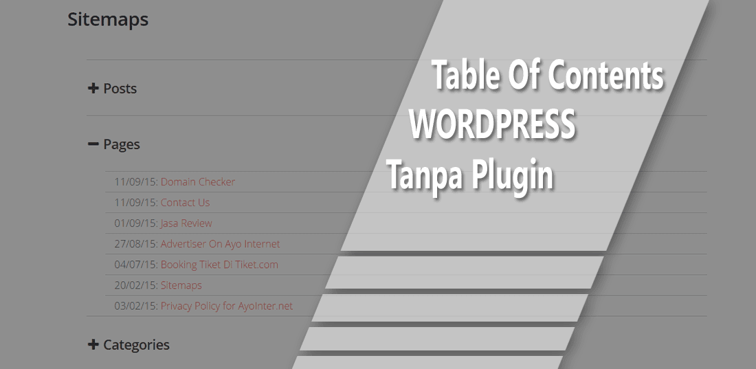 Membuat Sitemaps Atau Table Of Contents Wordpress Tanpa Plugin