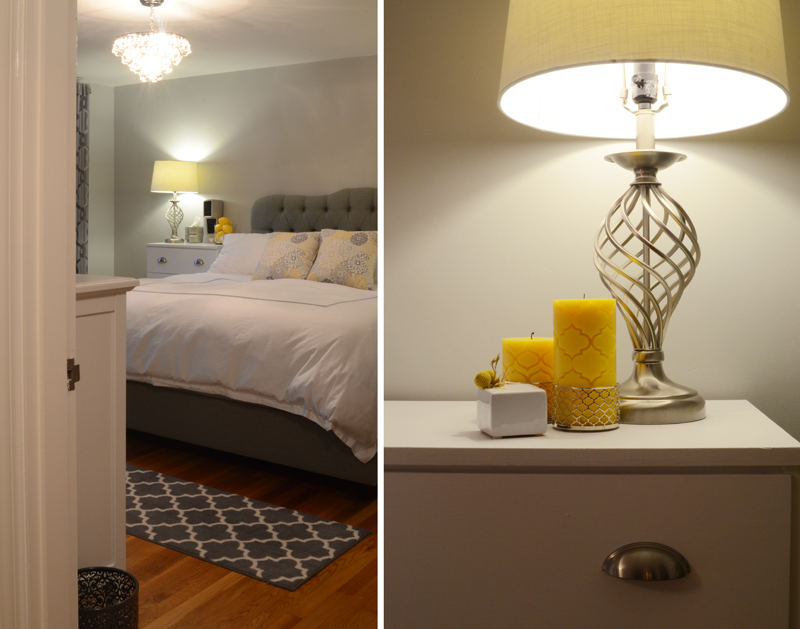 before and after a yellow and gray bedroom makeover