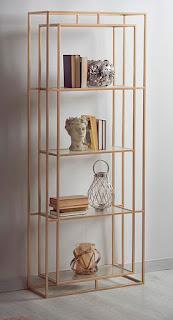 estanteria dorada acero y cristal