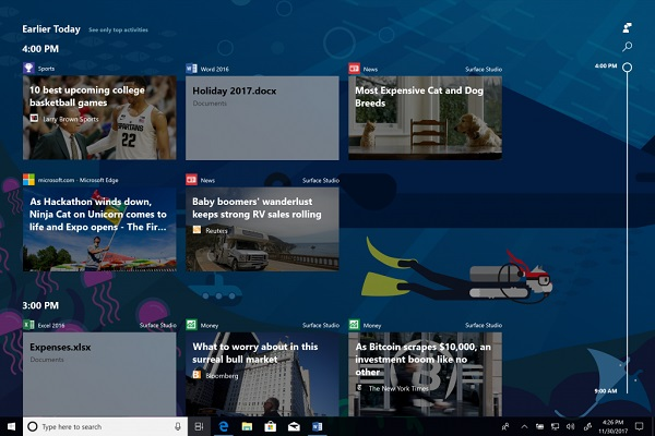 Microsoft announces Windows 10 Insider Preview Build 17063 for PC with Timeline, Sets and Activities