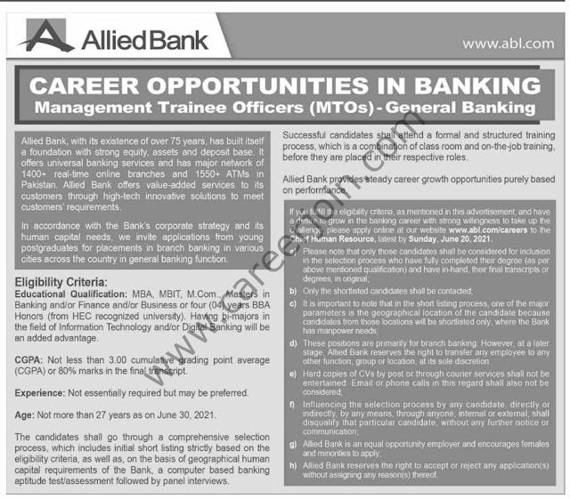 Allied Bank Ltd ABL Jobs 2021 – Jobs in Pakistan 2021