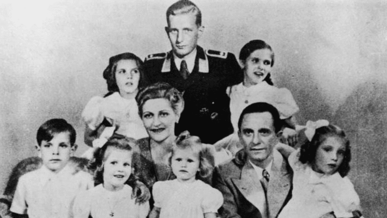 Joseph and Magda Goebbels with their six young children accompanied Hitler to the end and suffered the same fate. The uniformed man in the photo is Harald Quandt, son of Magda Goebbels' first marriage.
