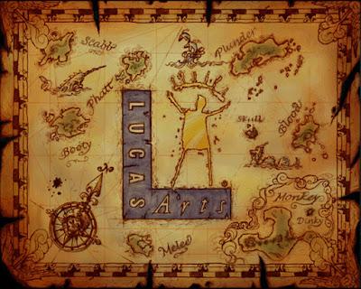 Die Karte aus dem Intro von Monkey Island 3.