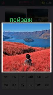 в красной траве сидит мужчина и наслаждается пейзажем перед собой