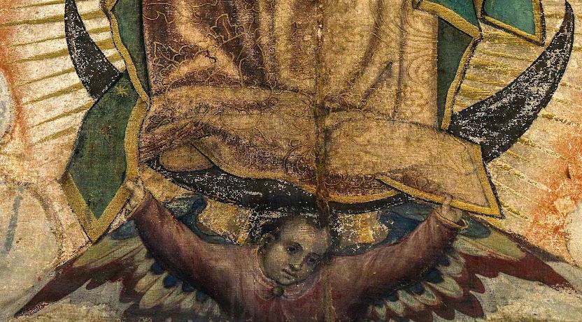 Parece anjo, mas é São João Diego, a 'águia que canta', com asas de águia e roupa de convertido