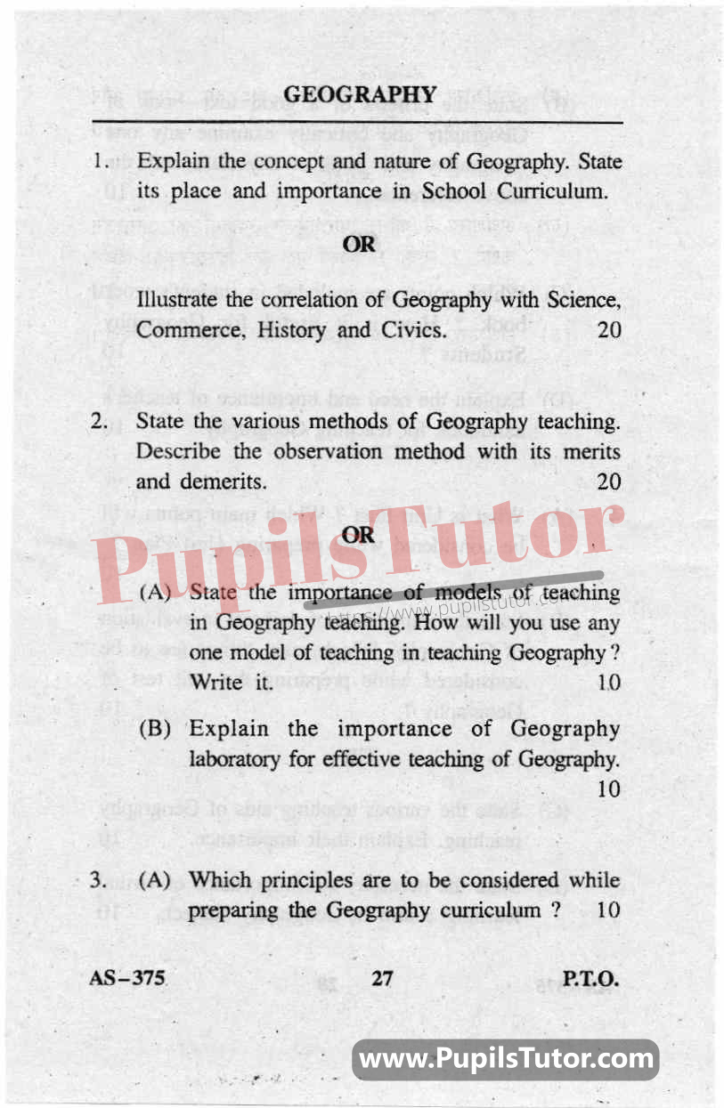 Pedagogy Of Geography Question Paper In English