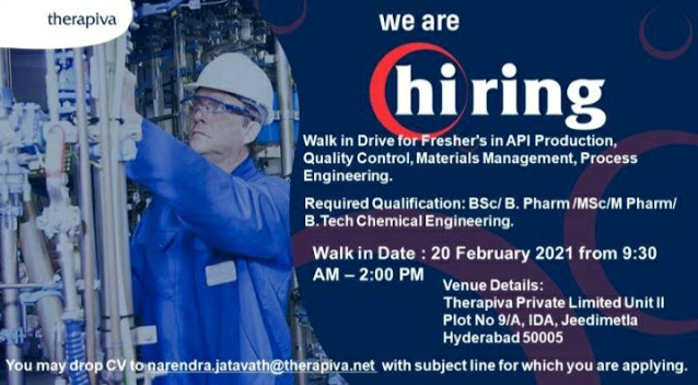 Therapiva | Walk-in interview for Freshers on 20th Feb 2021