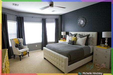 غرف نوم بالرمادي الداكن والأصفر