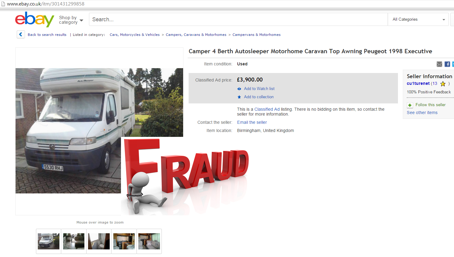 Auto Sleepers For Sale On Ebay: SCAM 1998 Peugeot Boxer Auto-Sleeper Pollensa MOTORHOME