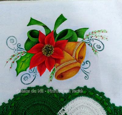 pintura em tecido sinos, laço e flor de Natal