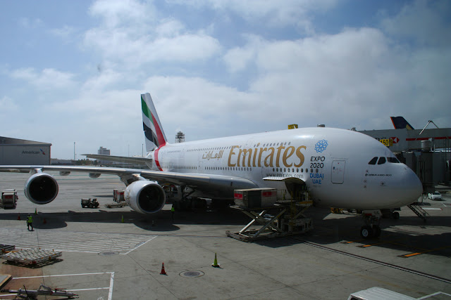 Emirates Airbus A380 at the gate at Los Angeles International Airport LAX