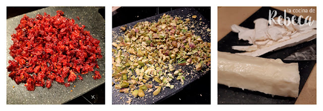 Receta de bolitas de queso con pistachos y arándanos: preparación de los ingredientes