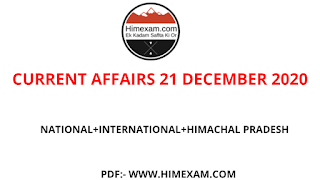 Daily Current Affairs 21 DECEMBER  2020