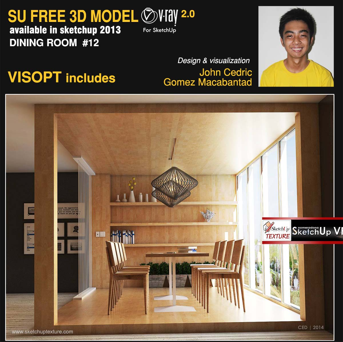 free sketchup 3d model minimalist dining room #12 by John Cedric