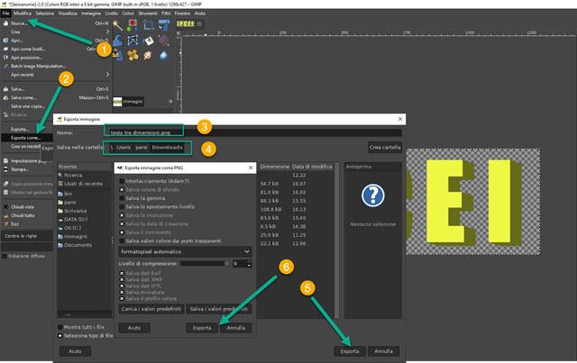 esportazione del testo in 3D