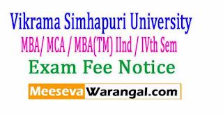 Vikrama Simhapuri University MBA/ MCA / MBA(TM) IInd / IVth Sem April-2017 Exam Fee Notice