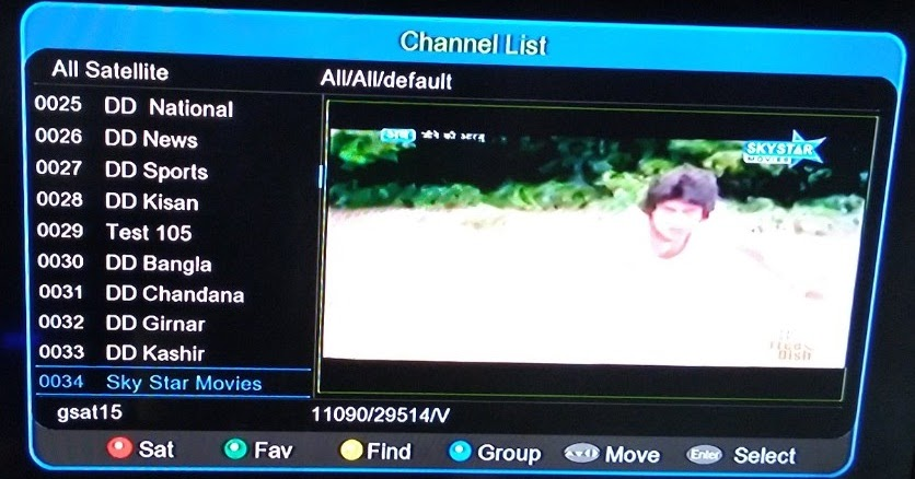 V sat channel list