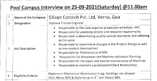 Silicon Cortech Pvt. Ltd, Verna, Goa conducting Pool Campus Interview For Diploma Holders