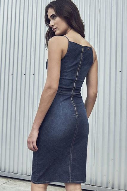 Moda Vestido Curto Jeans com Fenda