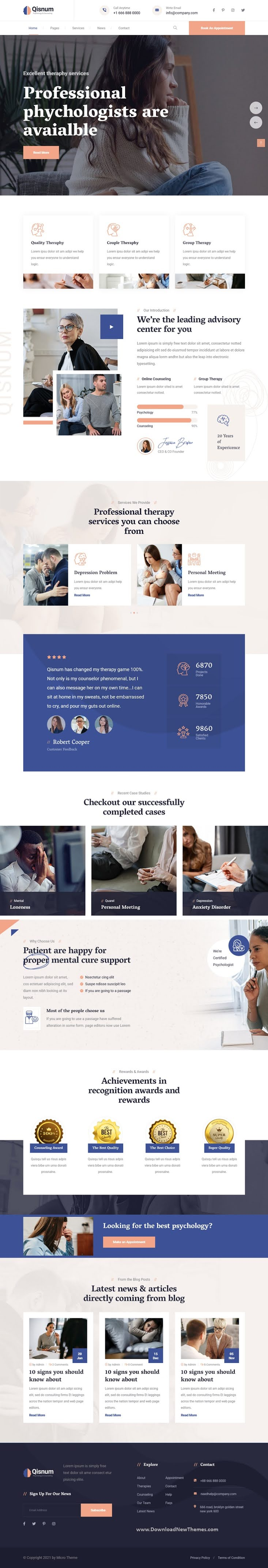 Psychology and Counseling Bootstrap Template