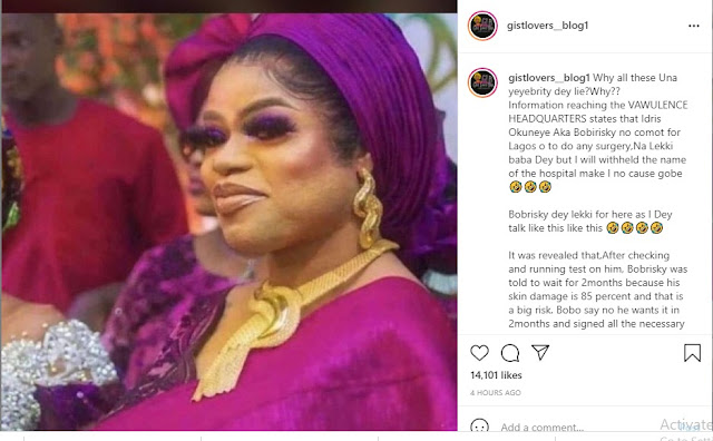 Bobrisky is in Lagos, He is Lying– Bobrisky exposed of having surgery in Lagos and not outside the country