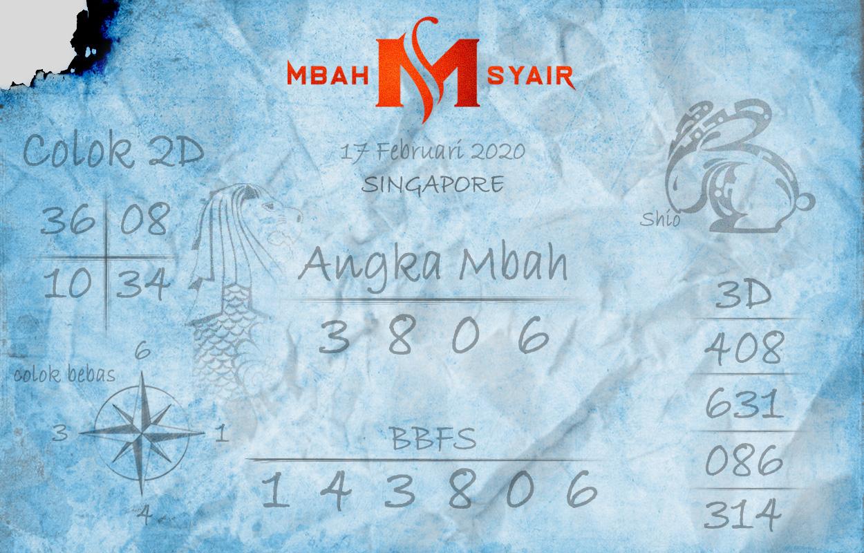 Prediksi Togel Singapura 17 Februari 2020 - Mbah Syair