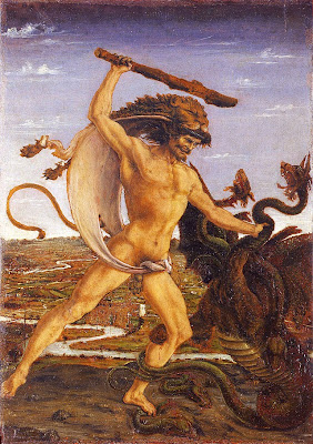 Hercules dressed in the skin of the Nemean Lion, trying to kill the Hydra of Lerna