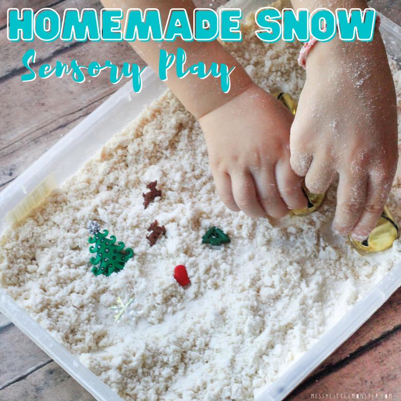 homemade snow sensory play