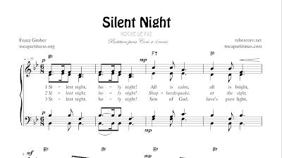 ight (Noche de Paz) Partitura de CORO SATB a cuatro voces con letra en inglés