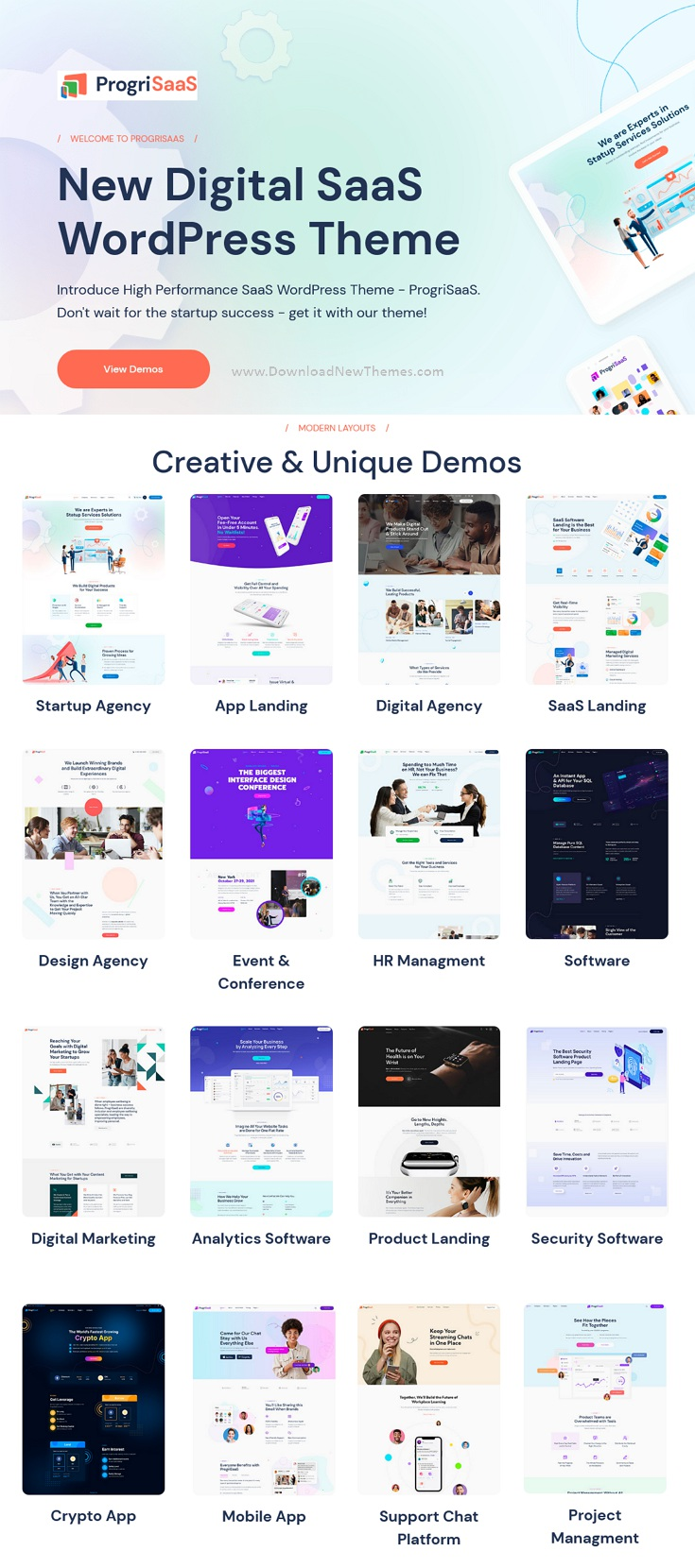 ProgriSaaS - Creative Landing Page WordPress Theme