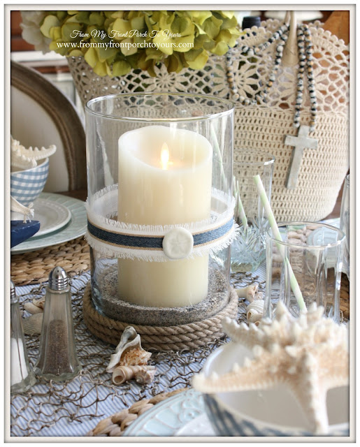 Balsam Hill- Luminara Candle-Nautical Dining Room- From My Front Porch To Yours