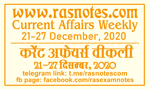 Current Affairs GK Weekly December 2020 (21-27 December) in hindi pdf