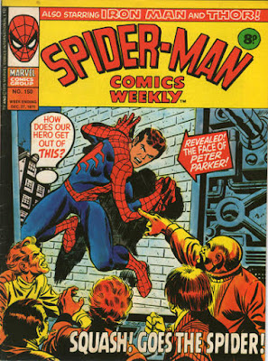 Spider-Man Comics Weekly #150, our hero cornered as people point to him on a screen