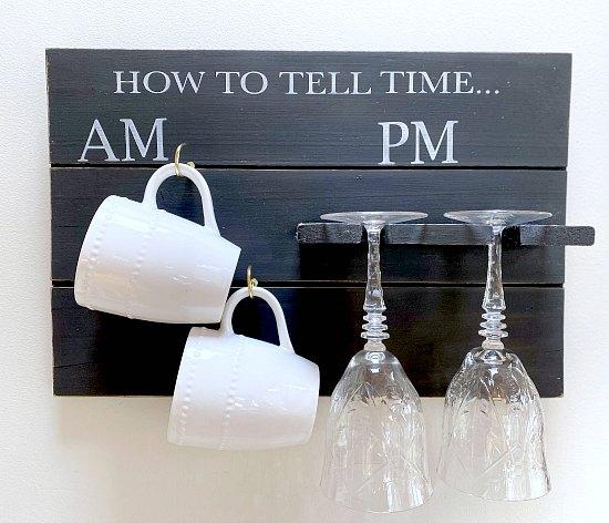 DIY pallet wood mug and glass holder sign