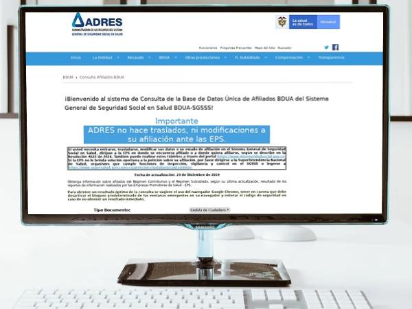 Pantalla de Base de Datos Única de afiliados del Fosyga (BDUA)