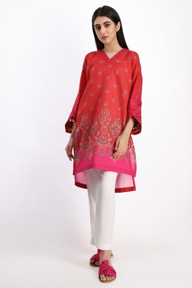 Khaadi khaadr kurta kurta embroidered red