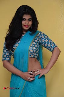 Telugu Actress Alekhya Stills in Green Saree at Swachh Hyderabad Cricket Press Meet  0055.JPG