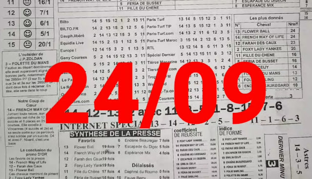 programme quinté+ Pronostic vendredi 24/09/2021